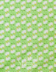 Algodón verde estampado de gallinas-