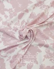 Ottomán blanco estampado flor rosa