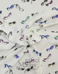 Voile blanco estampado gafas multicolor