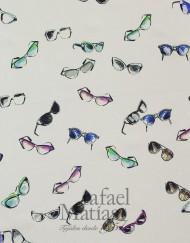 Voile blanco estampado gafas multicolor-