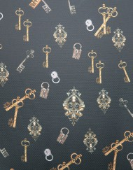 Tela jacquard rombo estampado llaves.