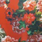Tela jacquard rombo flor roja.