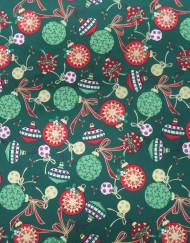 Popelín navidad verde bolas rojas.