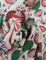 Popelín navidad blanco bolas rojas.