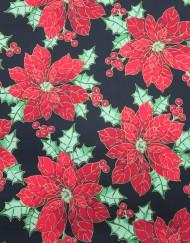 Popelín navidad negro flor de pascua