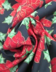 Popelín navidad negro flor de pascua.