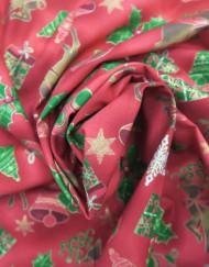 Popelín navidad rojo acebo y renos.
