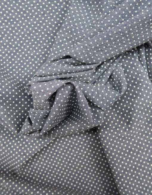Tela chambray marino topito blanco 619491.