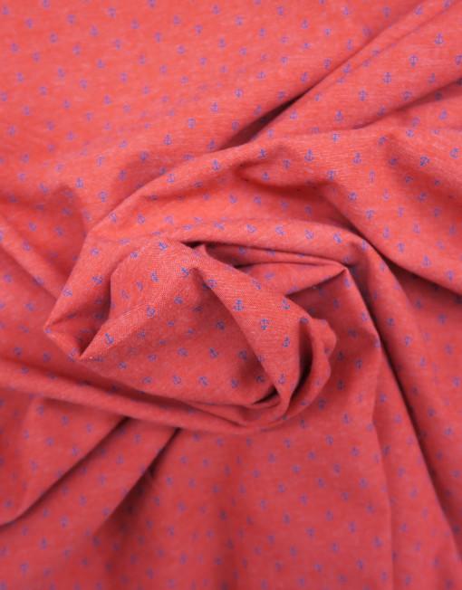 Tela chambray rojo ancla marino 619497.