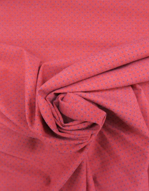 Tela chambray rojo topito marino 619490.