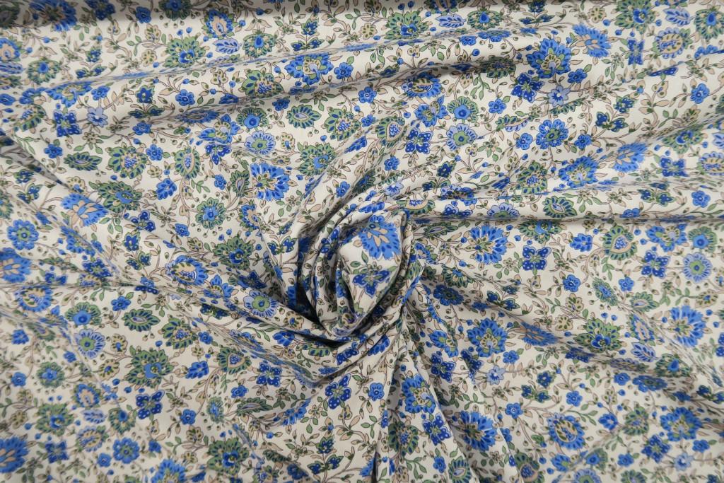 Tela popelín algodón flor cachemire azul