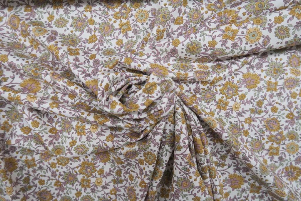 Tela popelín algodón flor cachemire beige