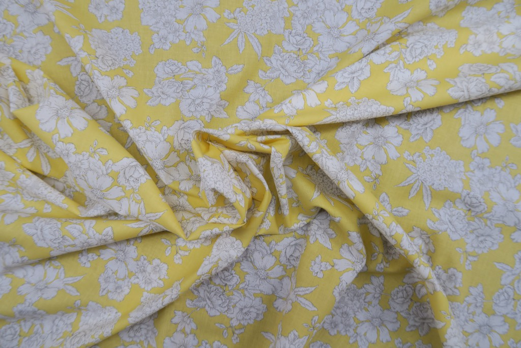 Tela popelín estampado floral fondo amarillo