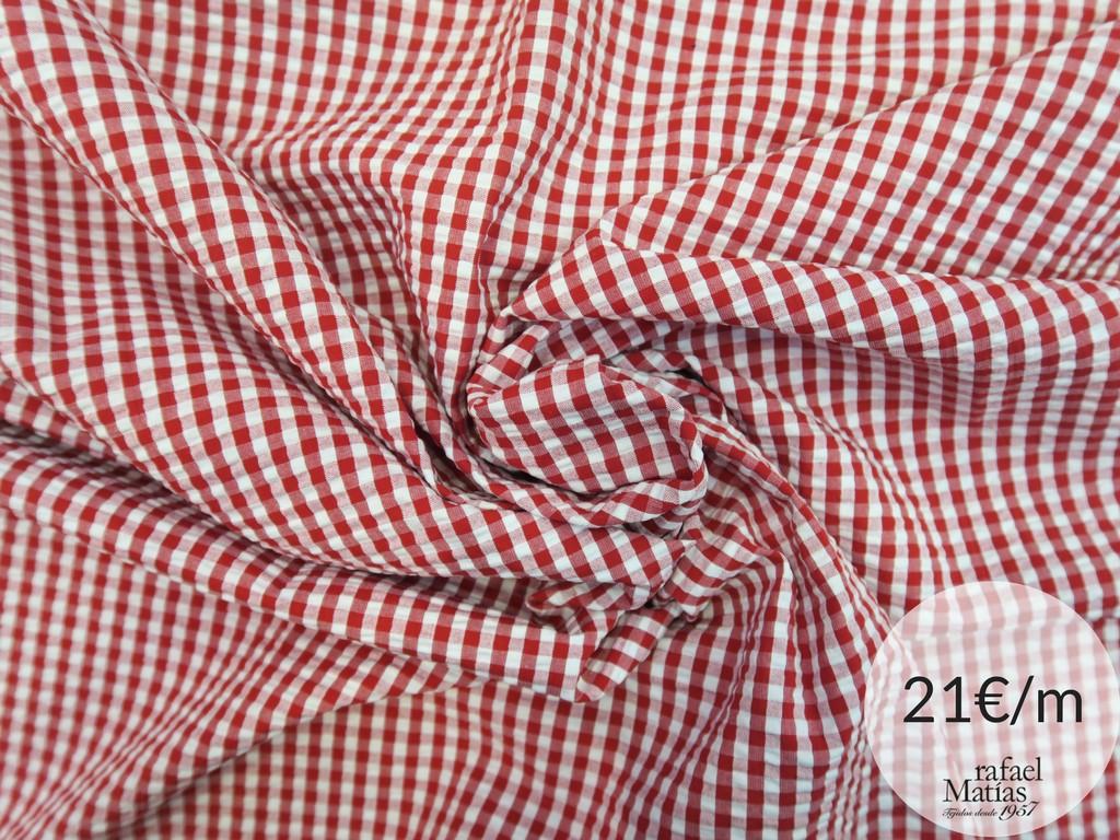 Ref 677.714 Tela vichy seersucker blanco y rojo