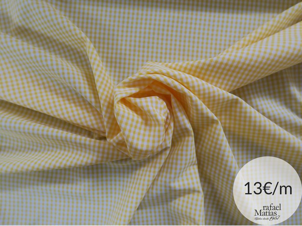 Ref 509.684 Tela vichy blanco y amarillo.