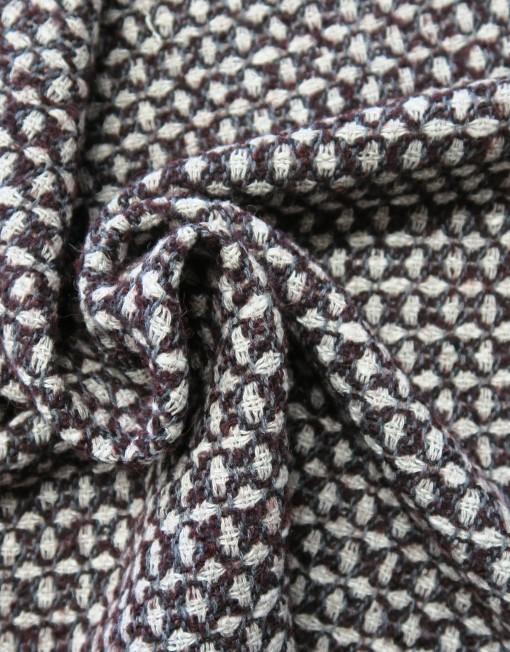 Tela lana grana gris rombos