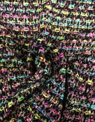 Tela chanel negro multicolor
