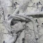 Tela crep gris estampado pájaros