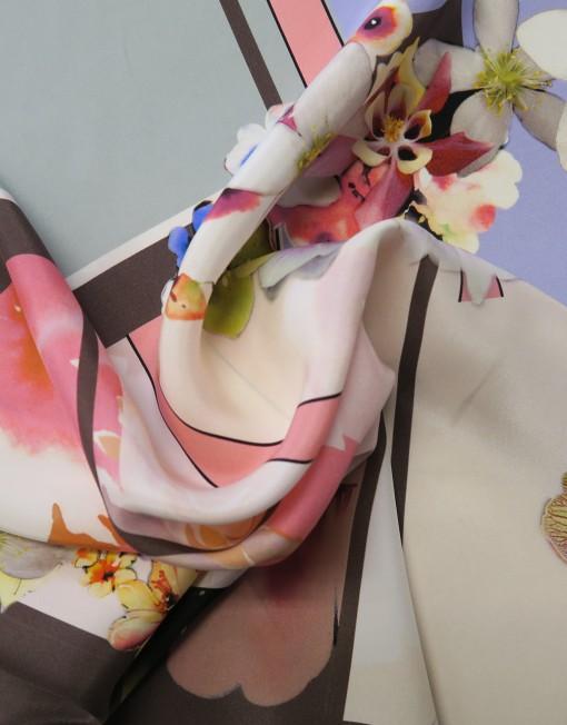 Tela seda estampada patchwork
