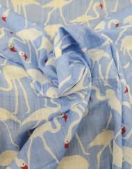 Tela algodón estampado flamencos fondo azul