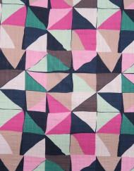 Tela algodón estampado geométrico turquesa