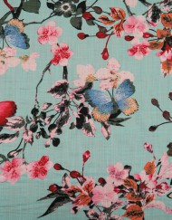 Tela algodón azulestampado mariposa