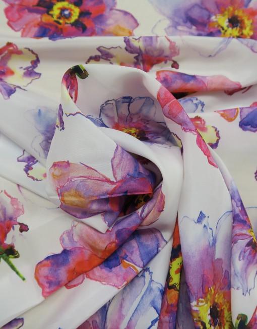 Telas charmeuse estampado flor fondo blanco