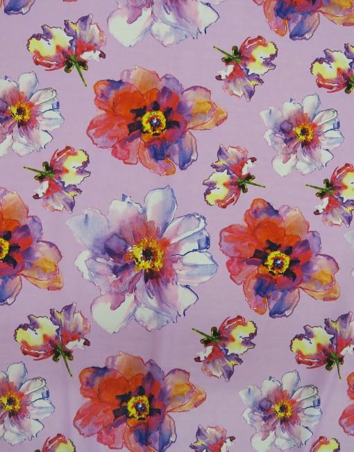 Telas charmeuse estampado flor fondo rosa