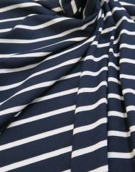Tela punto camiseta raya marino