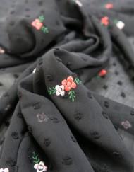 Tela plumeti bordado negro
