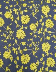 Tela vaquera bordado flor amarillo
