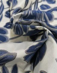 Tela jacquard azul plata