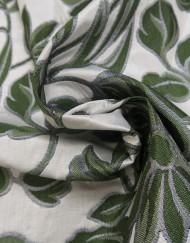 Tela jacquard verde plata