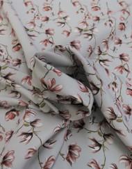 Tela crespón gris flor rosa