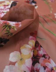 Tela gasa rosa estampado almendro