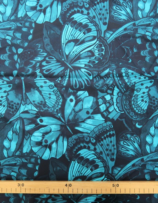 Tela satén stretch estampado mariposa