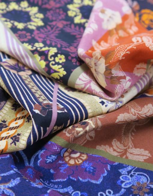 Tela seda estampado patchwork morado